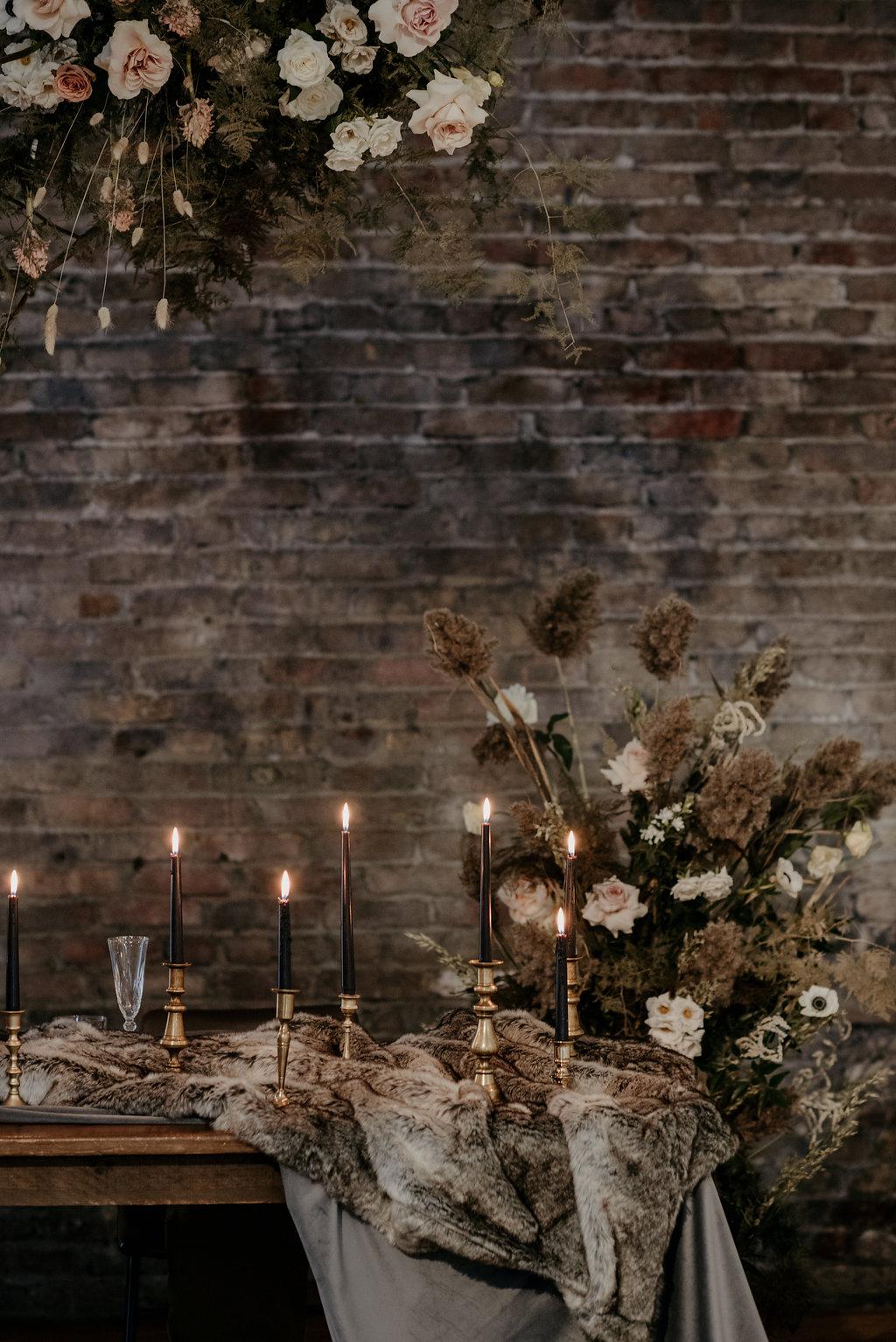 99 Sudbury, Barrie Wedding Planner, Wedding Designer, Elopement, Wedding Planner, Toronto Wedding Planner, Floral Backdrop, Romantic Elopement, Velvet Wedding Design, Fur Wedding Design, Black Taper Candles